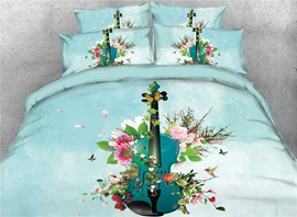Guitar Surrounded by Flowers 3D Light Green Printed Cotton 4-Piece Bedding Sets