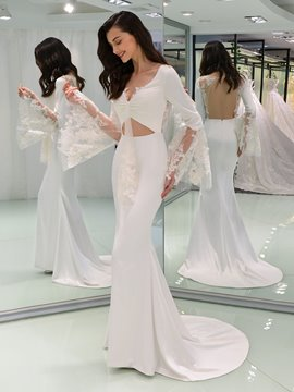 Ericdress Long Sleeve Appliques Backless Wedding Dress