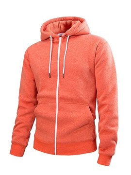 Ericdress Plain Pocket Hooded Cardigan Mens Casual Hoodies