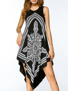 Ericdress Asymmetric Print Scoop Western Casual Dress