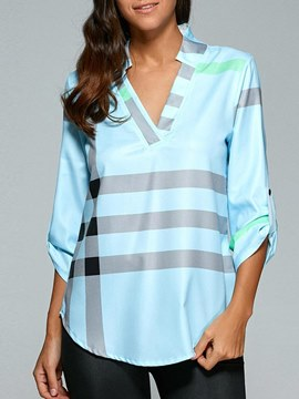 Ericdress Asymmetric Notch-V Loose Stripe Long Sleeve Womens Blouse