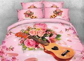 Vivilinen Guitar and Rose 3D Printed Pink Cotton 4-Piece Bedding Sets