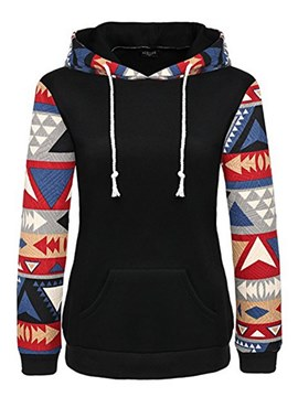 Ericdress Geometric Patchwork Print Slim Long Sleeves Cool Hoodie