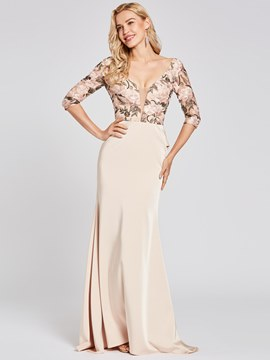 Ericdress Half Sleeve V Neck Backless Evening Dress