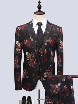 Ericdress Black Floral Printed Mens 3 Pieces Ball Casual Suits