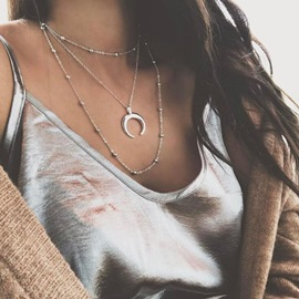 Ericdress Crescent Multilayer Silver Necklace