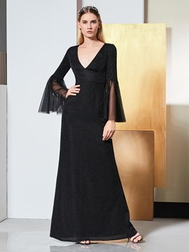 Ericdress A Line V Neck Long Sleeve Black Evening Dress