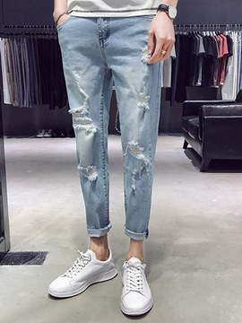 Ericdress Light Blue Plain Skinny Mens Ripped Pencil Jeans