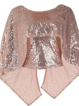 Ericdress Thin Sequins Loose Double-Layer Womens Cape