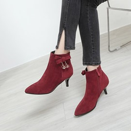 Ericdress Bowknot Side Zipper Kitten Heel Ankle Boots