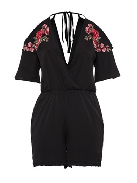 Ericdress Plus Size Embroidery Plain Slim Romper