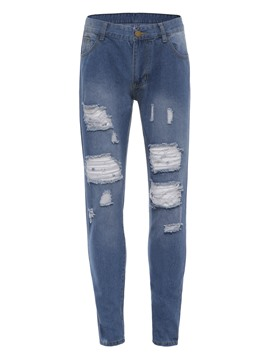 ericdress skinny hole plaine mens crayon denim crayon