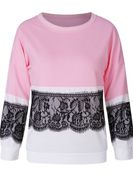 Ericdress Lace Patchwork Color Block Cool Hoodie