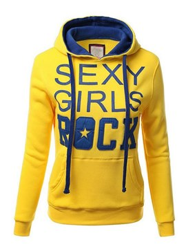 Ericdress Letter Print Thick Slim Long Sleeves Cool Hoodie