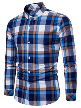 Ericdress Plaid Slim Fitted Long Sleeve Mens Button Down Casual Shirts