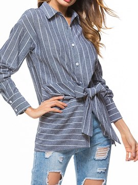 Ericdress Loose Lapel Stripe Tie Front Womens Shirt