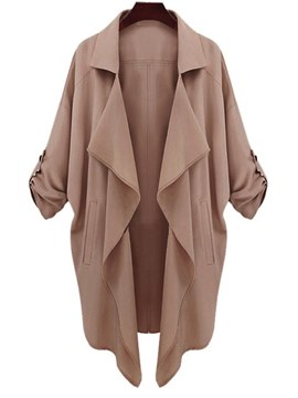 Ericdress Lapel Loose Plain Thin Casual Trench Coat