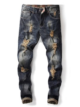 Ericdress Blue Plain Straight Mens Ripped Jeans