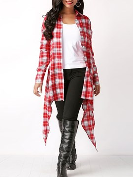 Ericdress Button-Down Asymmetric Plaid Long Sleeve Womens Top