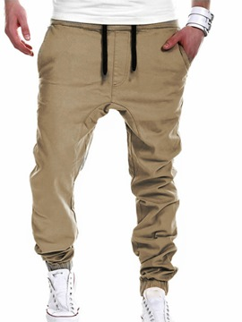 Ericdress Lace-Up Slim Long Men's Casual Pants