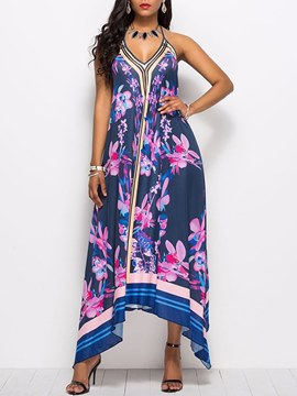 Ericdress Blue V-Neck Floral Backless Casual Dress