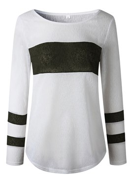 Ericdress Roll-up Stripe Slim Long Sleeves Womens T Shirt