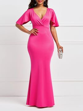 Ericdress Rose Half Sleeves Mermaid Bodycon Women's Dress