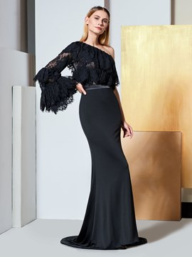 Ericdress One Shoulder Long Sleeve Mermaid Black Evening Dress