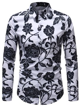 Ericdress Floral Printed Color Block Long Sleeve Mens Loose Shirts