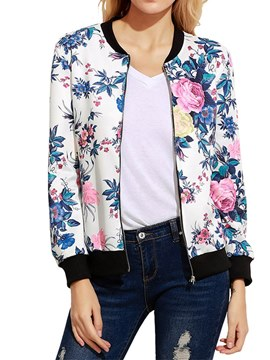 Ericdress Loose Zipper Floral Print Long Sleeve Jacket