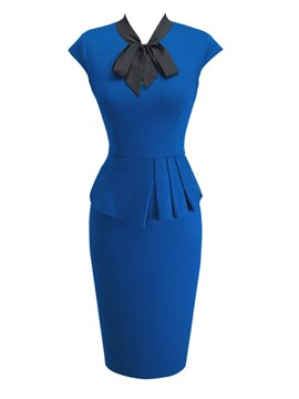 Ericdress Bow Collar Ruffles Office Lady Bodycon Dress