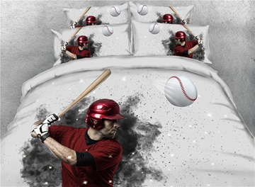 Player Try to Hit Baseball 3D Printed Cotton 4-Piece Bedding Sets