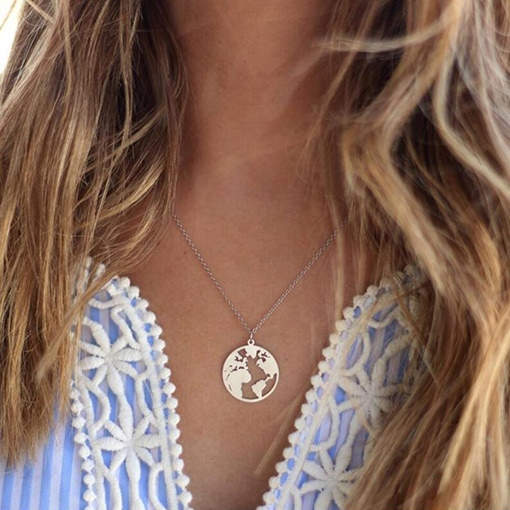 Ericdress Map Fashion Charm Silver Layered Necklace For Women