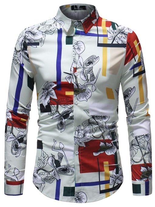 Ericdress White Floral Striped Print Mens Shirts