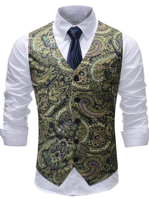 Ericdress Yellow Floral Printed Mens Suit Vest