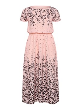 Ericdress Pink Batwing Sleeve Plant Pullover Casual Dress