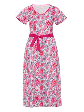 Ericdress Red Floral V-Neck Flare Sleeve Casual Dress