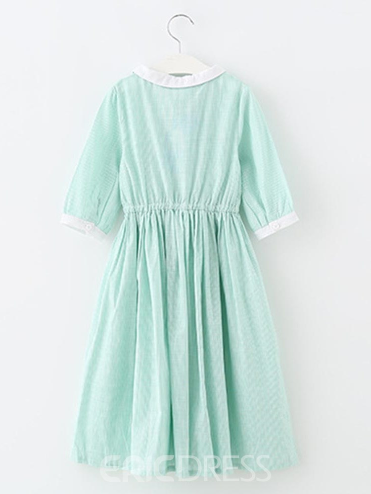 Ericdress Plain Pleated A-Line Half Sleeve Girl's Casual Dress
