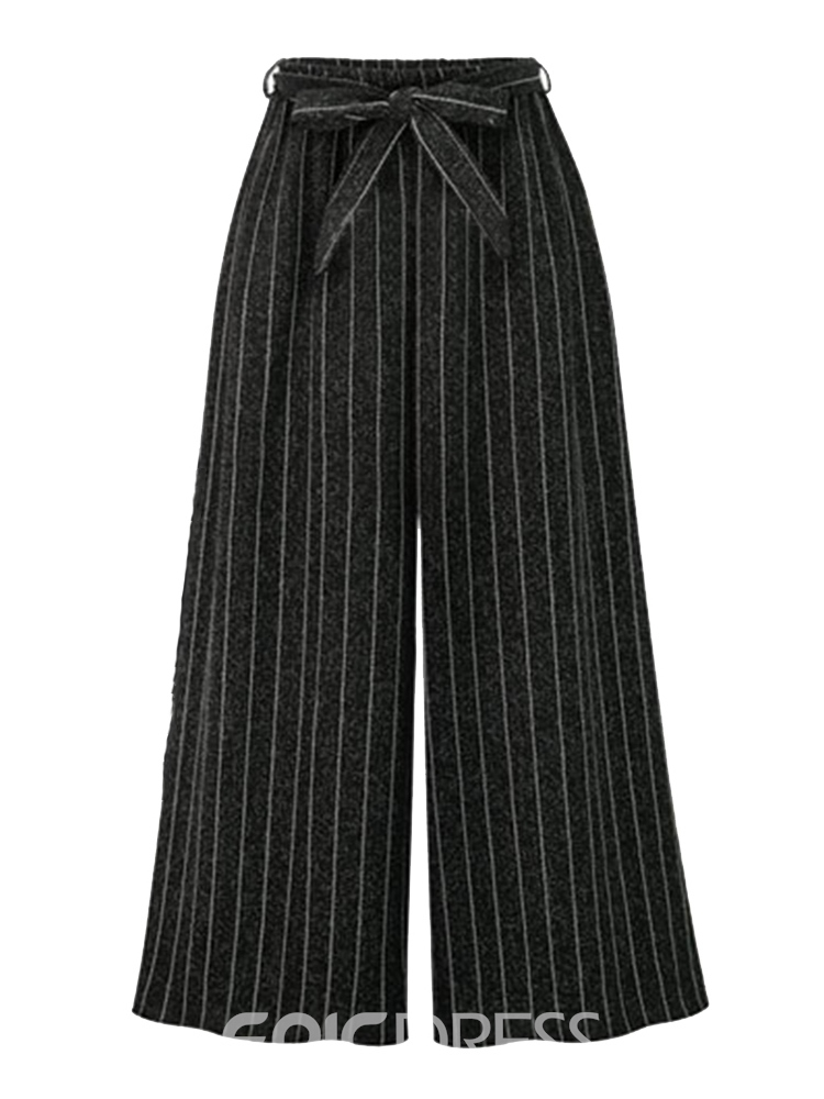 Ericdress Loose Lace-Up Striped Wide Legs Ankle Length Plusee Pants