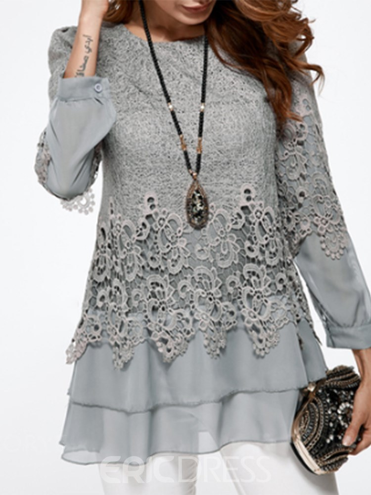 Ericdress Lace Patchwork Plain Layered Long Sleeve Womens Top
