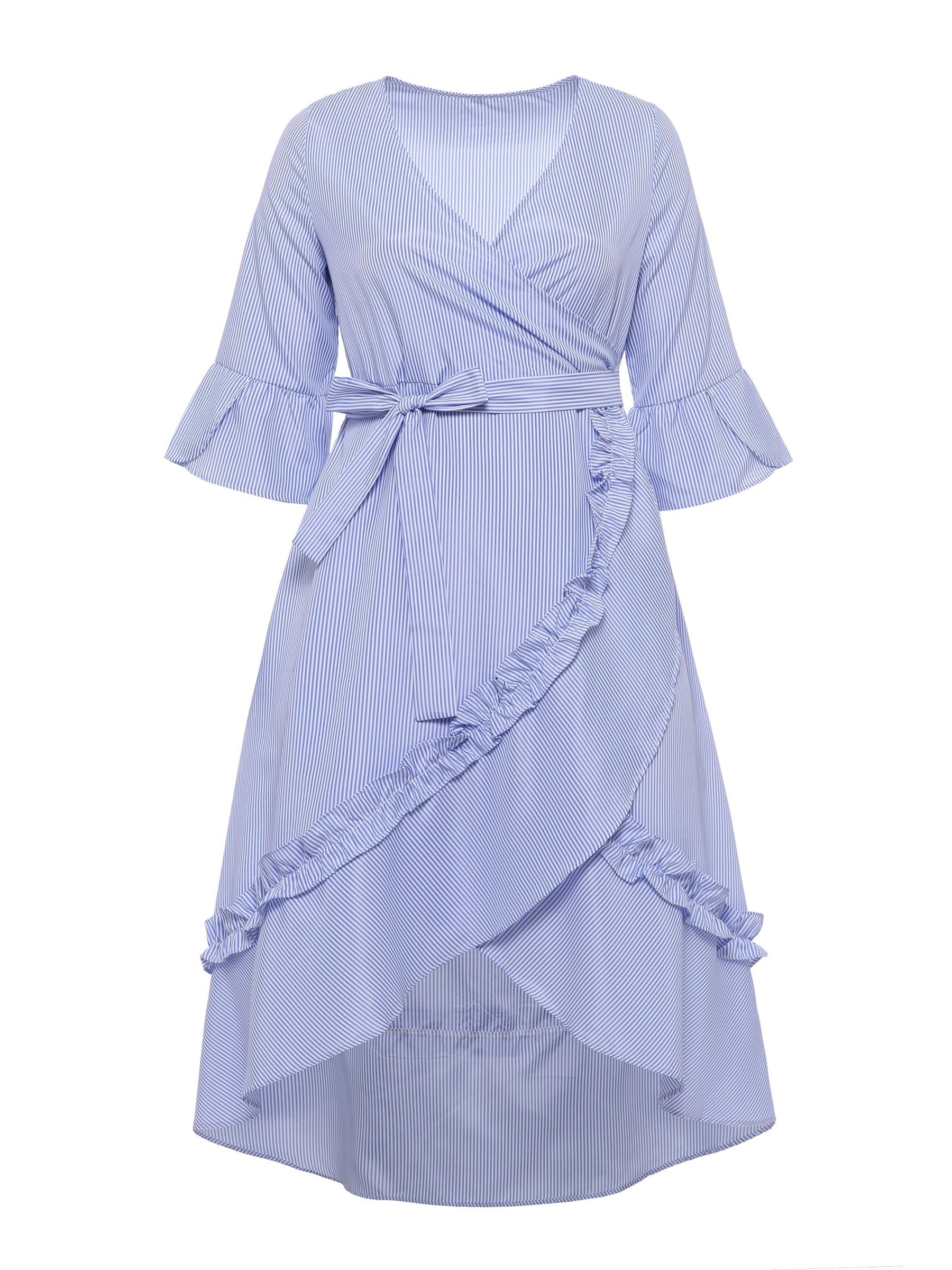 Ericdress Blue Flare Sleeve V-Neck Lace-Up Casual Dress