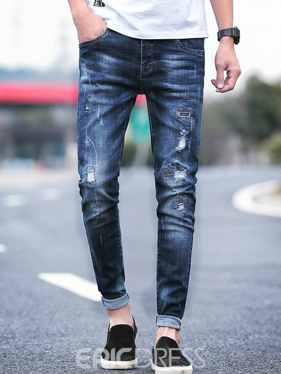 Men's Clothing Bottoms Blue Ripped Straight Jeans