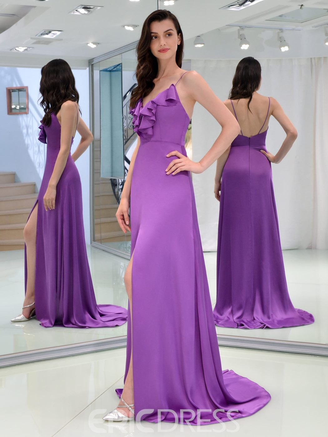 Ericdress A Line Spaghetti Straps Split-Front Long Prom Dress