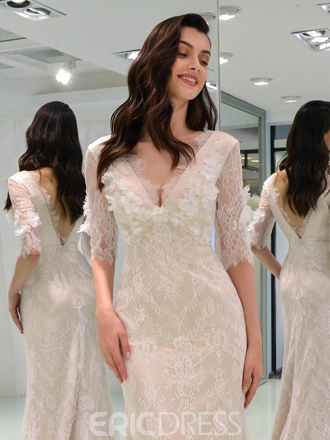 Ericdress Half Sleeves 3D Flowers Lace Wedding Dress