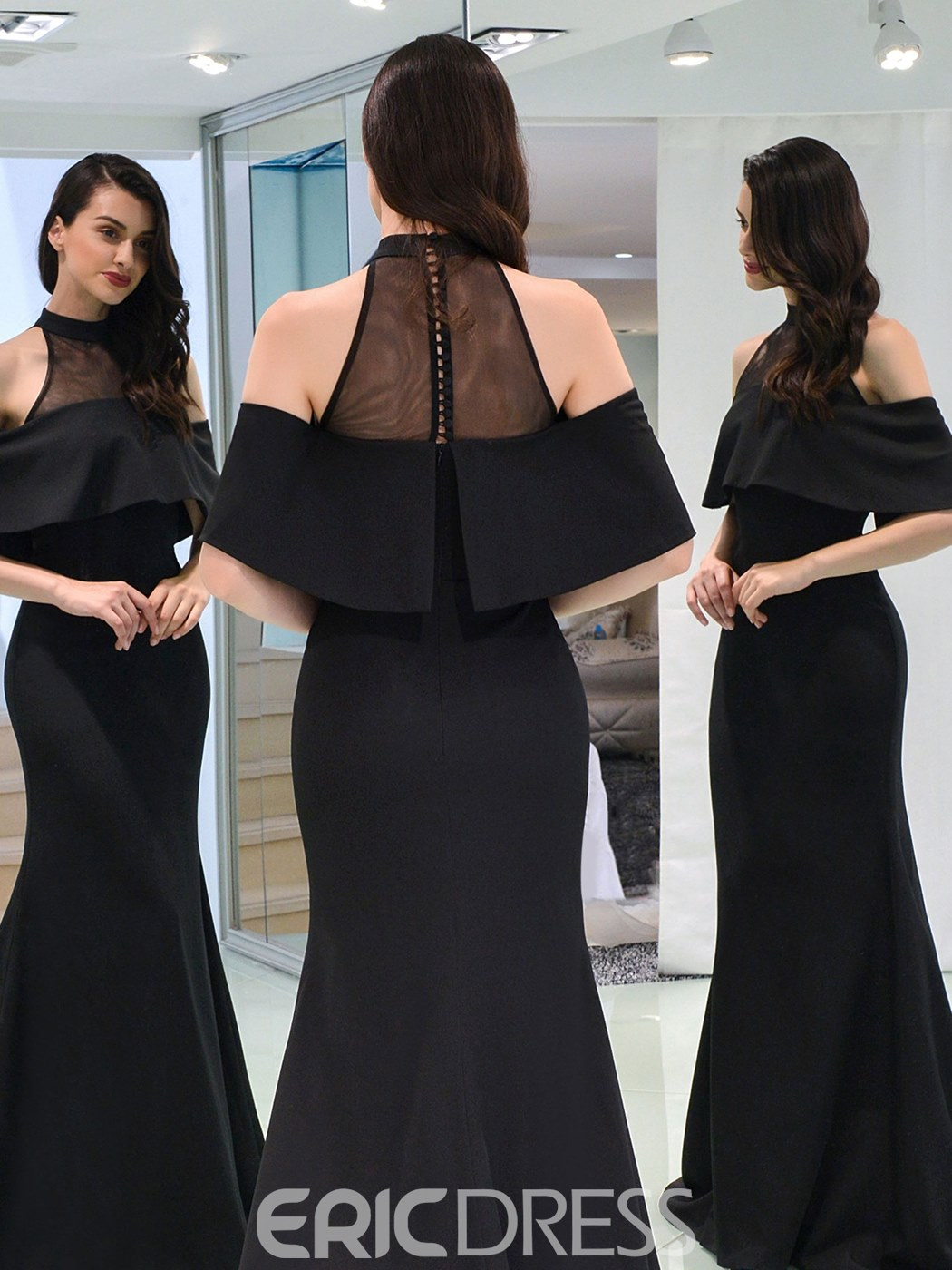 Ericdress Short Sleeve Scoop Neck Black Mermaid Evening Dress