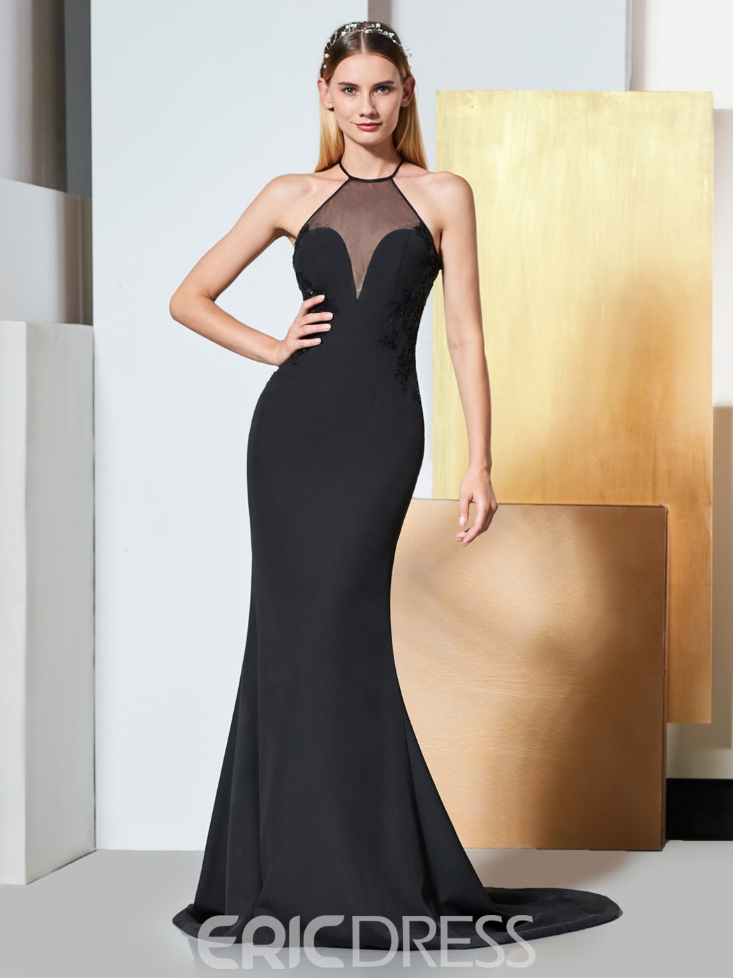 Ericdress Halter Sequin Applique Black Mermaid Evening Dress