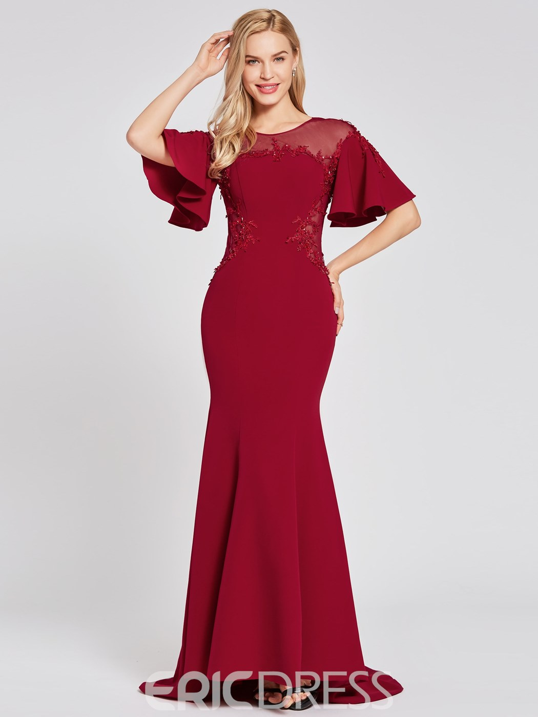 Ericdress Short Sleeves Lace-Up Mermaid Evening Dress