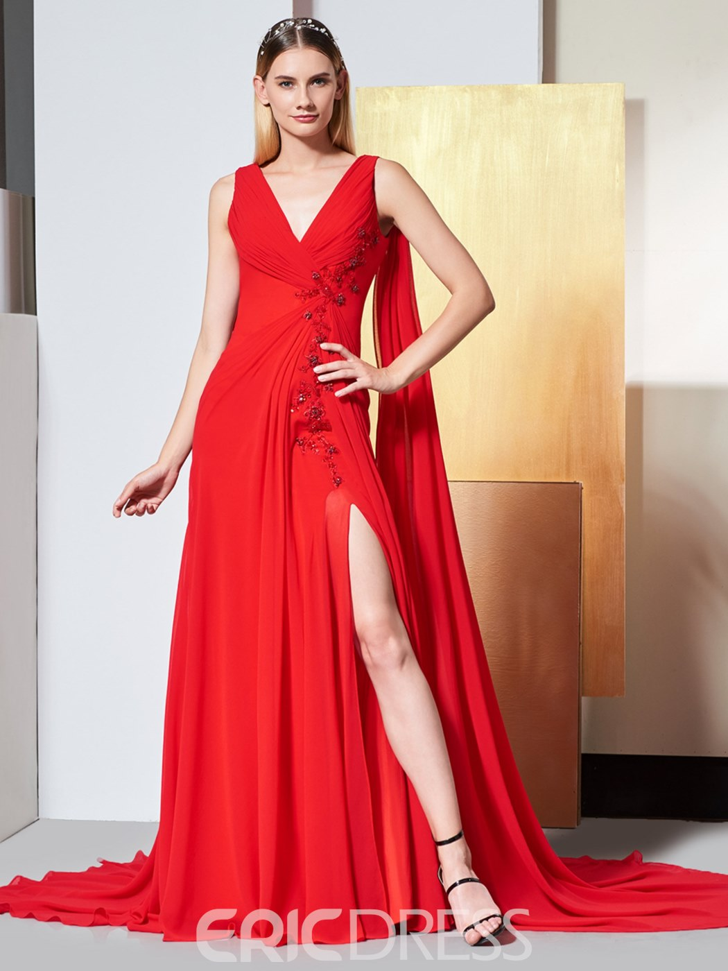 Ericdress V Neck Pleats Backless Red Evening Dress With Beadings
