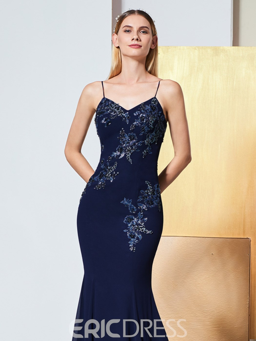 Ericdress Spaghetti Straps Applique Beaded Mermaid Evening Dress