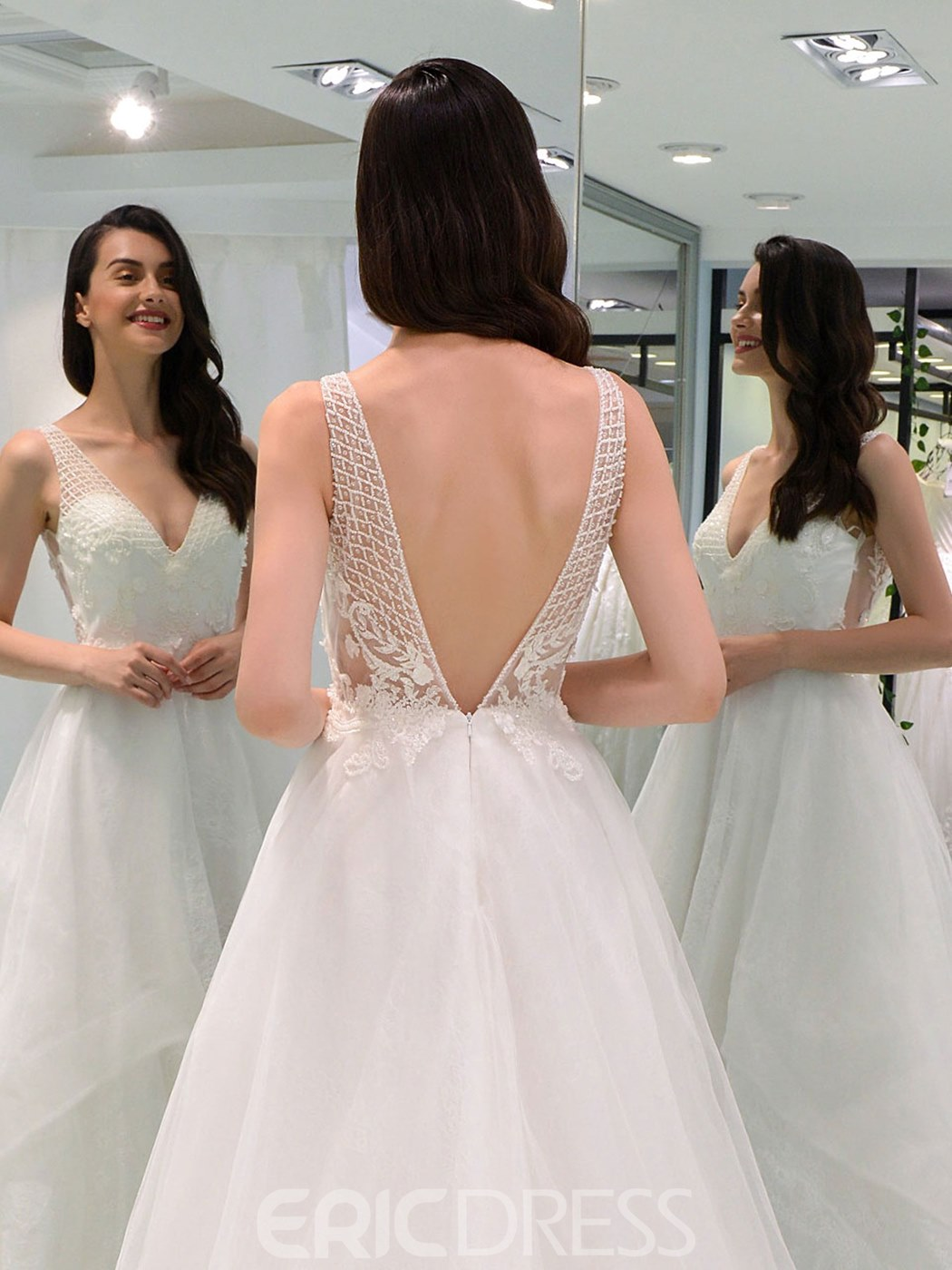 Ericdress V Neck Backless Lace Wedding Dress
